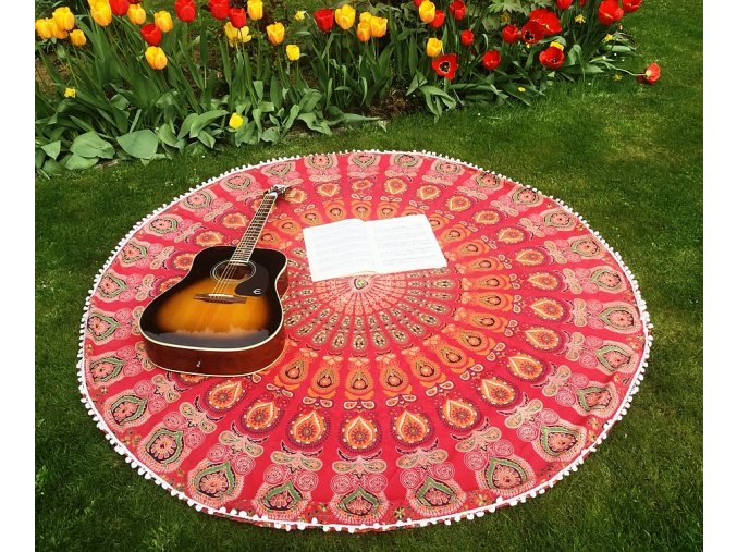 Mandala s ozdobnými pompomy - jóga podložka, přehoz přes postel, pikniková podložka, bavlna, doprava zdarma - II. jakost