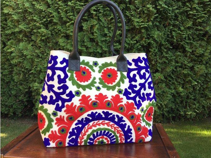 Vyšívaná indická kabelka - taška mandala, textilní kabelka, taška z Indie, DOPRAVA ZDARMA