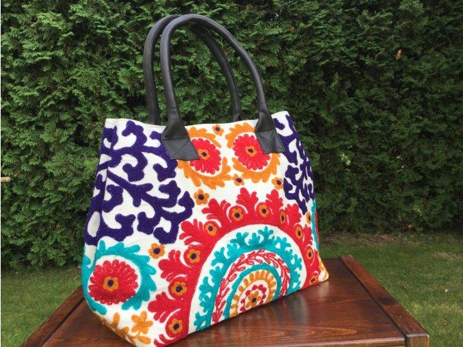 Indická kabelka textilní - indická taška s mandalou, vyšívaná kabelka, taška z Indie, bílo-červená, DOPRAVA ZDARMA
