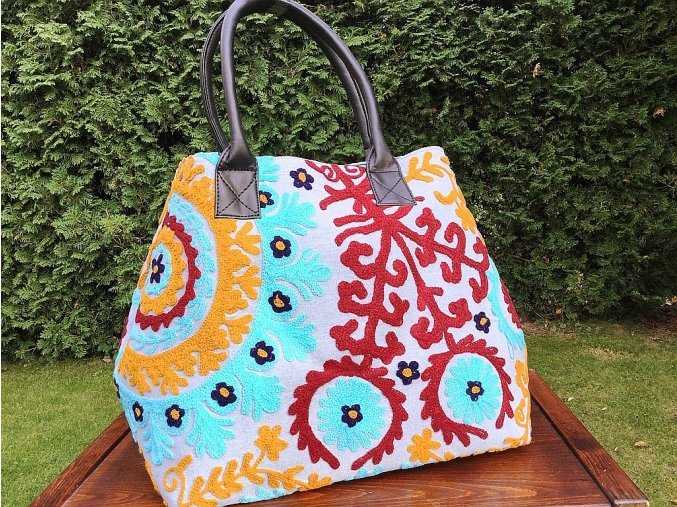 Indická kabelka - indická taška s mandalou, textilní kabelka, taška z Indie, modro-červená, DOPRAVA ZDARMA