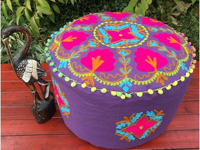 Indický vyšívaný puf taburet - ruční práce, podsedák, sedací pytel, sedací taburet z Indie, fialový, DOPRAVA ZDARMA