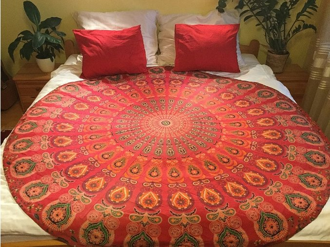 Mandala - jóga podložka, kulatý přehoz na postel, deka na pláž, pikniková podložka, bavlna, doprava zdarma