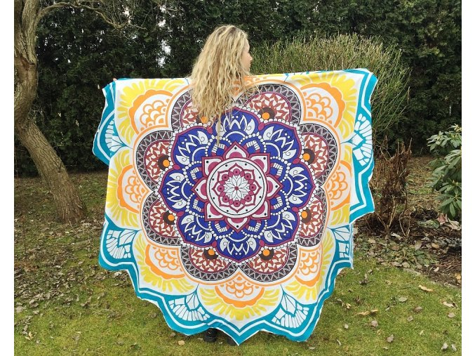 Mandala lotosový květ, přehoz přes postel, jóga podložka, plážová deka, ubrus, bavlna, doprava zdarma, II. jakost