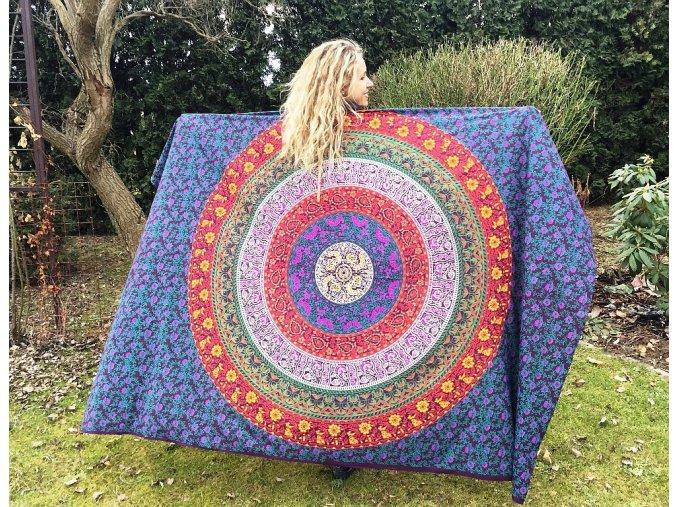 Mandala textilní dekorace na zeď - přehoz přes postel, fialovo modrá, jóga podložka, tapisérie, bavlna, doprava zdarma