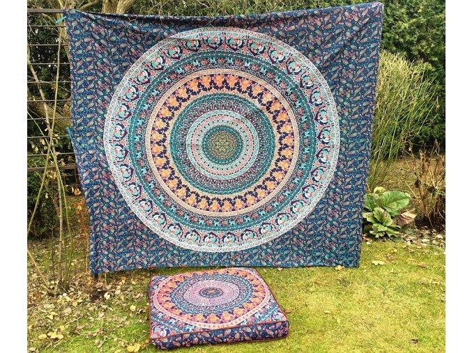 Bavlněná mandala, dekorace na zeď - XL přehoz na postel, jóga podložka, modro-oranžová, tapisérie, doprava zdarma