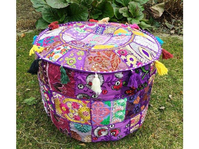 Indický patchwork puf taburet - ruční práce, podsedák, sedací pytel, taburet z Indie, fialový, DOPRAVA ZDARMA