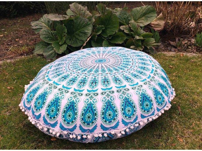 Mandala povlak na sedací meditační indický polštář s pompomy, modrý paví péra, bavlna, doprava zdarma