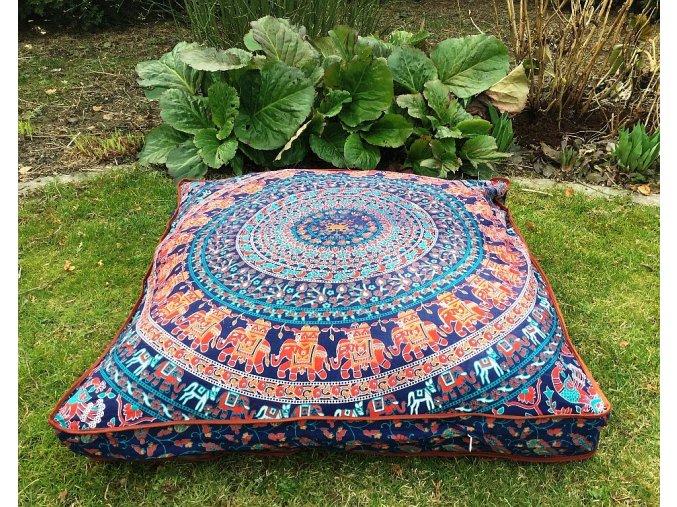 Mandala povlak na sedací meditační indický polštář, čtvercový se slony, bavlna, doprava zdarma, II. jakost