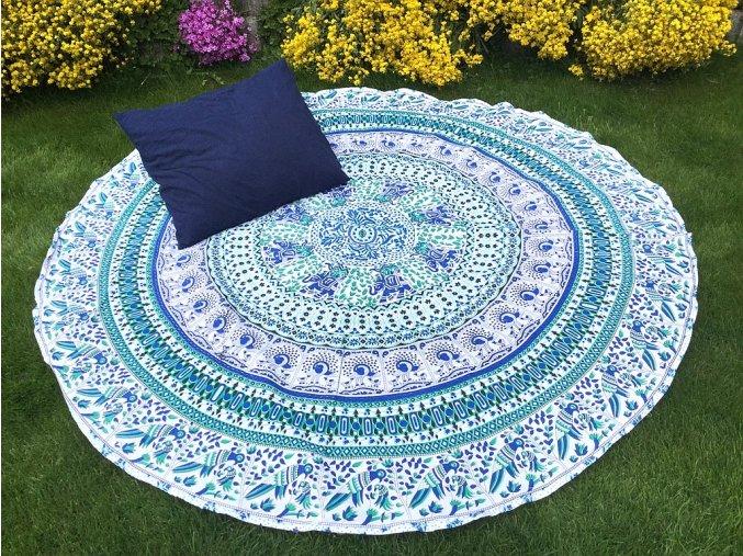 Mandala - jóga podložka, přehoz na postel, deka na pláž, mandala přehoz, bílo-modro-zelená, bavlna, doprava zdarma, II. jakost