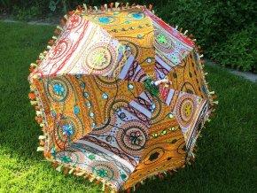 Indický patchwork textilní slunečník, ruční výroba, oranžovo-žlutý, doprava zdarma