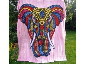 Mandala XXL textilní dekorace na zeď - přehoz přes postel, slon - brush print růžový, tapisérie, bavlna, doprava zdarma