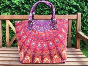 Textilní taška s mandalou - velká kabelka, plážová taška, indická kabelka, fialovo-červená, DOPRAVA ZDARMA