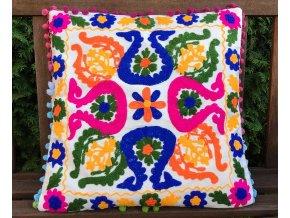 Mahari - Dekorační povlak na polštář - tradiční indická výšivka, indický meditační polštář, bílý s barevnými vzory, doprava zdarma