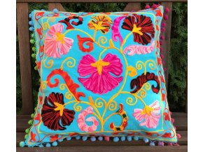 Dekorační povlak na polštář - tradiční indická výšivka, indický meditační polštář, tyrkysový s barevnými květy, doprava zdarma