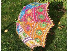 Indický patchwork textilní slunečník, ruční výroba, mix barev, doprava zdarma