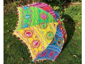 Mahari - Indický patchwork textilní slunečník, ruční výroba, mix barev, doprava zdarma