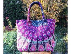 Mahari textilní taška s mandalou - fialovo-růžová, velká kabelka, plážová taška, indická kabelka, DOPRAVA ZDARMA
