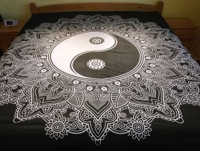 Bavlněná indická mandala, dekorace na zeď - XL přehoz na postel, jóga podložka, jin jang černo bílá, tapisérie, doprava zdarma, II. jakost