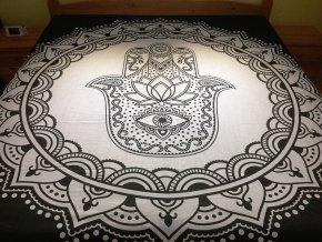 Bavlněná indická mandala, dekorace na zeď - XL přehoz na postel, jóga podložka, ruka Fatimy černo bílá, tapisérie, doprava zdarma