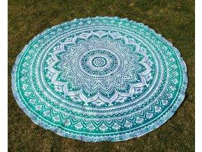Mandala - jóga podložka, kulatý přehoz na postel, deka na pláž, pikniková podložka, bavlna, modro-zelené ombré, doprava zdarma
