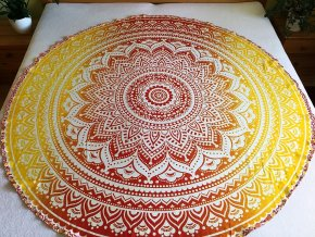 Mandala - jóga podložka kulatá, oranžová ombré, přehoz na postel, deka na pláž kulatá, pikniková podložka, bavlna, doprava zdarma - II. jakost