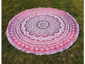 Mandala - jóga podložka kulatá, růžová ombré, přehoz na postel  Mahari, deka na pláž kulatá, pikniková podložka, bavlna, doprava zdarma - II. jakost