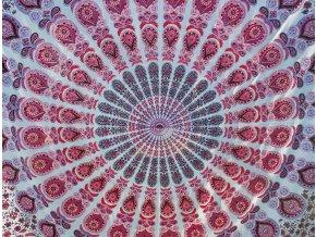 Mandala textilní dekorace na zeď - XXL přehoz na postel, růžovo zelený peacock,  jóga podložka, tapisérie, bavlna, doprava zdarma