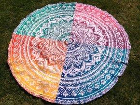 Mandala - jóga podložka kulatá, 4 ombre dekory, přehoz na postel, deka na pláž kulatá, pikniková podložka, bavlna, doprava zdarma