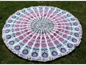 Mandala - jóga podložka, kulatý přehoz na postel, deka na pláž, pikniková podložka, bavlna, růžovo-fialková, doprava zdarma