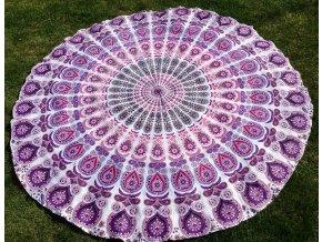 Mandala - jóga podložka, kulatý přehoz na postel, deka na pláž, pikniková podložka, bavlna, růžovo-fialová paví péra, doprava zdarma