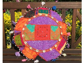 Indický patchwork relaxační dekorační polštářek - ruční práce, podsedák, fialový, DOPRAVA ZDARMA