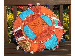 Indický patchwork relaxační dekorační polštářek - ruční práce, podsedák, oranžový, DOPRAVA ZDARMA