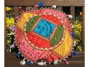 Indický patchwork relaxační dekorační polštářek - ruční práce, podsedák, růžový, DOPRAVA ZDARMA