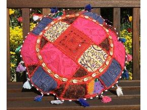 Indický patchwork relaxační dekorační polštářek - ruční práce, podsedák, růžovo-červený, DOPRAVA ZDARMA