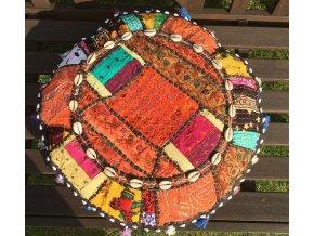 Indický patchwork relaxační dekorační polštářek - ruční práce, podsedák 1, DOPRAVA ZDARMA