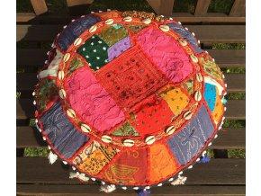 Indický patchwork relaxační dekorační polštářek - ruční práce, podsedák 2, DOPRAVA ZDARMA