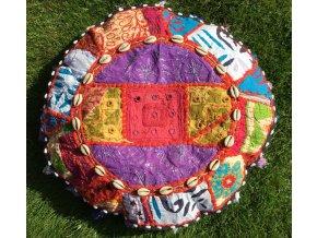 Indický patchwork relaxační dekorační polštářek - ruční práce, podsedák 3, DOPRAVA ZDARMA