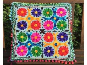 Dekorační povlak na polštář - tradiční indická výšivka, indický meditační polštář, modrá batika s barevnými vzory, doprava zdarma