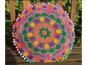 Dekorační povlak na polštář - tradiční indická výšivka, indický meditační polštář, kulatý, tmavě šedá batika s barevnými motivy, doprava zdarma