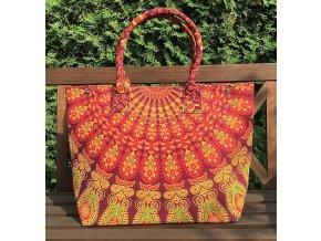 Textilní taška s mandalou - velká kabelka, plážová taška, indická kabelka, oranžová, DOPRAVA ZDARMA