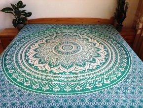 Bavlněná mandala, dekorace na zeď - XL přehoz na postel, jóga podložka, ombré modro-zelená, tapisérie, doprava zdarma
