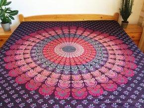 Bavlněná indická mandala, dekorace na zeď - XL přehoz na postel, jóga podložka, fialová mandala, tapisérie, doprava zdarma