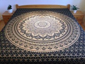 Bavlněná indická mandala, dekorace na zeď - indický XL přehoz na postel, jóga podložka, černozlatá mandala, tapisérie, doprava zdarma