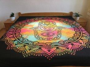 Bavlněná indická mandala, dekorace na zeď - XL přehoz na postel, jóga podložka, ruka Fatimy duhová batika, tapisérie, doprava zdarma