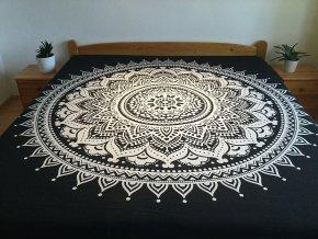 Bavlněná indická mandala, dekorace na zeď - XL přehoz na postel, jóga podložka, černo bílá, doprava zdarma