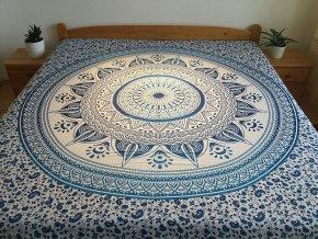 Bavlněná indická mandala, dekorace na zeď - XL přehoz na postel, jóga podložka, modrobílá, tapisérie, doprava zdarma