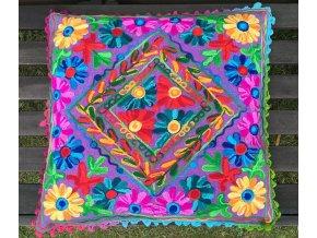 Dekorační povlak na polštář - tradiční indická výšivka, indický meditační polštář, fialový, doprava zdarma