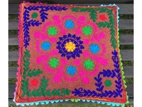 Dekorační povlak na polštář - tradiční indická výšivka, indický meditační polštář, hnědorůžový, doprava zdarma