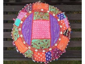 Indický patchwork relaxační dekorační polštářek - ruční práce, podsedák 5, DOPRAVA ZDARMA