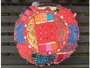 Indický patchwork relaxační dekorační polštářek - ruční práce, podsedák 6, DOPRAVA ZDARMA